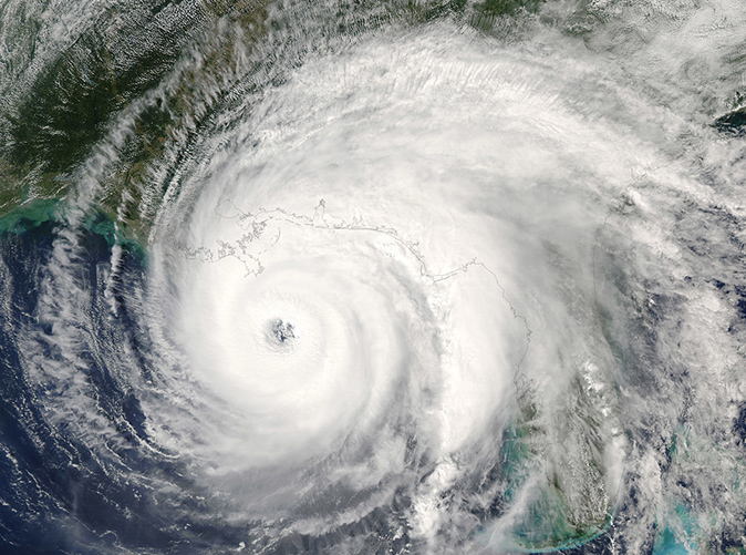 hurricane storm system from above