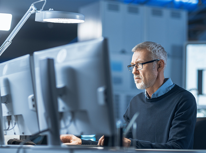 Researcher using computer